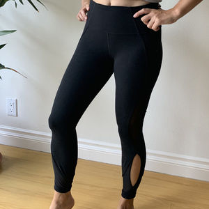 Athleta Black Workout Pant with Open Detailing XS